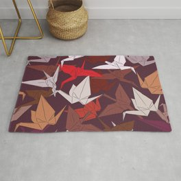 Japanese Origami paper cranes symbol of happiness, luck and longevity, sketch Rug