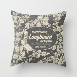 Club Surfing Longboard Logo and Hibiscus Hawaiian Print  Throw Pillow