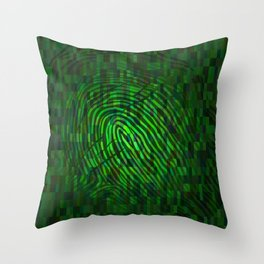 Silhouette of fingerprint Throw Pillow