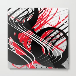 life silver white red black abstract geometric digital painting Metal Print