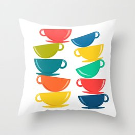 A Teetering Tower Of Colorful Tea Cups Throw Pillow