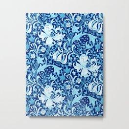 William Morris Iris and Lily, Indigo Blue and White Metal Print