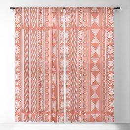 Boho Mud Cloth (Coral) Sheer Curtain