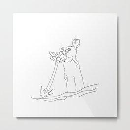 Bunny smelling flowers Metal Print