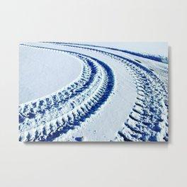 Tire Tracks in Snow Metal Print