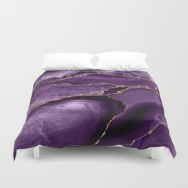 Glamour Purple Bohemian Watercolor Marble With Glitter Veins Duvet Cover