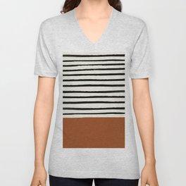 Burnt Orange x Stripes Unisex V-Neck
