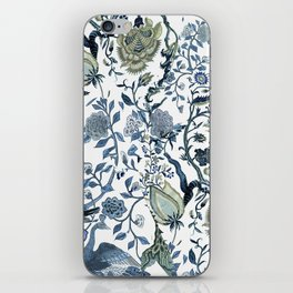 Blue vintage chinoiserie flora iPhone Skin