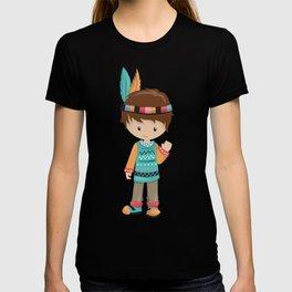Cute Boy, Native American Boy, Brown Hair T-shirt