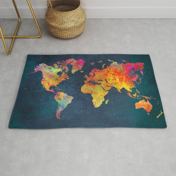 World Map blue #world #map Rug