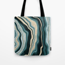 Modern agate geode turquoise champagne glitter marble pattern Tote Bag