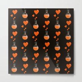Love Chemistry Flask of Hearts Pattern Metal Print