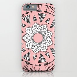 Bohemian Pink Black Tribal Aztec Hipster Mandala iPhone Case