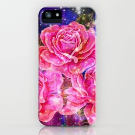 Roses with sparkles and purple infusion iPhone Case