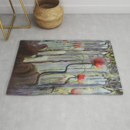 Red Poppies - View of the World Creation of the World No. IX by Mikalojus Konstantinas Ciurlionis Rug
