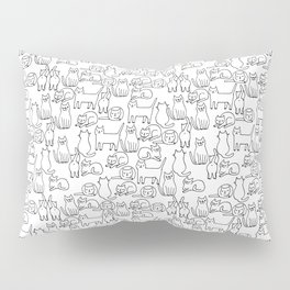 Funny sketchy white kitty cats Pillow Sham