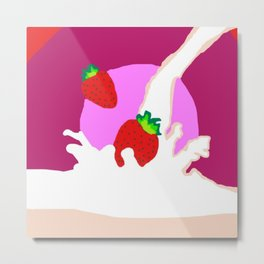 Strawberry Milk Metal Print