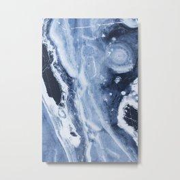 Marble Ice Indigo Metal Print