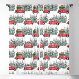 Corgis in car in winter forest Blackout Curtain