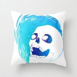 Scratchy Skull (Blue) Throw Pillow