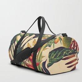 Vintage Tropical Flora (green) Duffle Bag