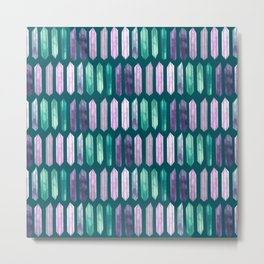 Love More Crystals Collection in Teal; Amythest, Rose Quartz, Calcite, Fluorite Metal Print
