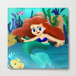 Small Ariel and Flounder Metal Print