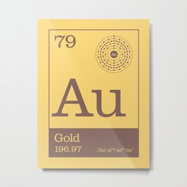 Periodic Elements - 79 Gold (Au) Metal Print