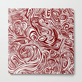 Red Swirl Design Metal Print