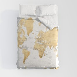Gold world map with country capitals Comforters