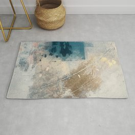 Embrace: a minimal, abstract mixed-media piece in blues and gold with a hint of pink Rug