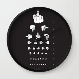 MIDDLE FINGER VISION TEST in black Wall Clock