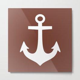 Anchor (White & Brown) Metal Print