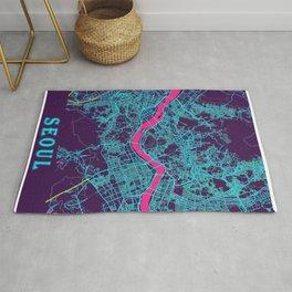 Seoul Neon City Map, Seoul Minimalist City Map Rug