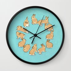 12 rabbits Wall Clock