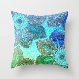 Aqua Green and Blue Glitter Flowers Throw Pillow