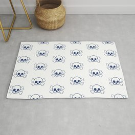 Navy Skull and Crossbones Pattern and Print Rug