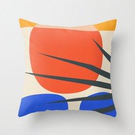 Mid Century Modern Abstract Wall Art Print, Yellow And Black Abstract Print, Modern Retro Art, Livin Throw Pillow