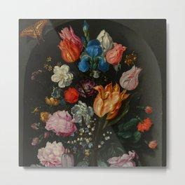 """Jacob de Gheyn II """"Flowers in a Glass Flask"""" Metal Print"""
