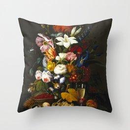 Severin Roesen - Victorian Bouquet Throw Pillow