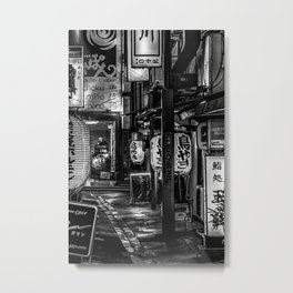 Empty Alleyway Urban Night Scene Tokyo, Japan Metal Print