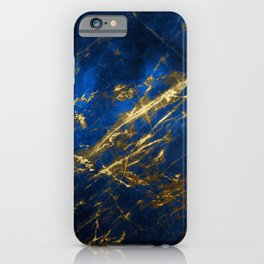 Blue Faux Marble With Gold Strike Veins iPhone Case