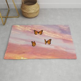 Butterfly Sunset Aesthetic Rug