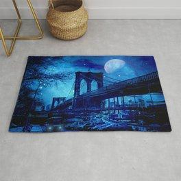 Full Moon Over Brooklyn Bridge Rug