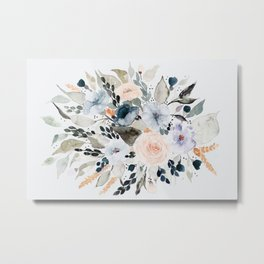 Loose Blue and Peach Floral Watercolor Bouquet  Metal Print