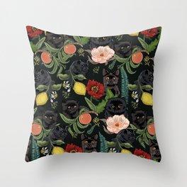 Botanical and Black Cats Throw Pillow