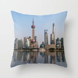 Reflections of Shanghai Throw Pillow