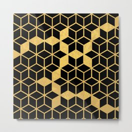 Black and Gold Cubes Metal Print