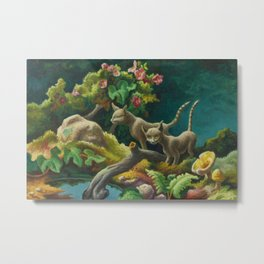 Classical Masterpiece 'Cats - The Brothers' by Thomas Hart Benton Metal Print