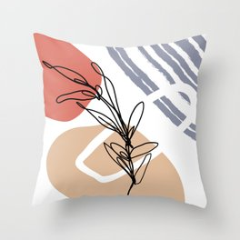 Minimal Line Plant Art Throw Pillow